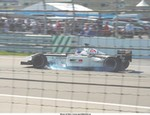 Racing Honda 004 F1, Jacques Villeneuve locking it up into turn 7 at INDY