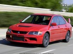 Production (Stock) Mitsubishi EVO, 2006 Mitsubishi Evolution IX Base price: $29,000 (est.) Engine: 2.0-liter in-line four; 286 hp, 289 lb-ft Drivetrain: Six-speed manual transmission, all-wheel drive Length x width x height: 178.5 x 69.7 x 57.1 in Wheelbase: 103.3 in Curb weight: 3263 lb EPA (city/hwy): 18/26 mpg Safety equipment: Dual front airbags, anti-lock brakes, electronic brake distribution, fog lamps Major standard equipment: Air conditioning, keyless entry, HID headlamps, rear defroster, tilt steering wheel, six-speaker CD audio, aluminum sport pedals and shift knob, Recaro front sport seats, MOMO steering wheel, BBS forged aluminum wheels, W-rated tires Warranty: Three years/36,000 miles; five years/60,000 miles powertrain